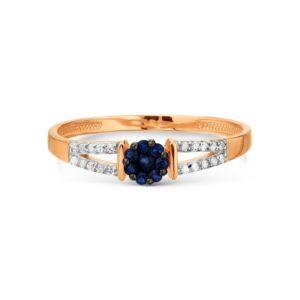 Кольцо из красного золота 585 пробы с белыми бриллиантами и сапфиром