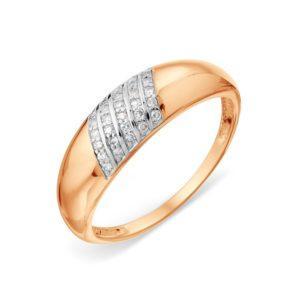 Кольцо из красного золота 585 пробы с белыми бриллиантами