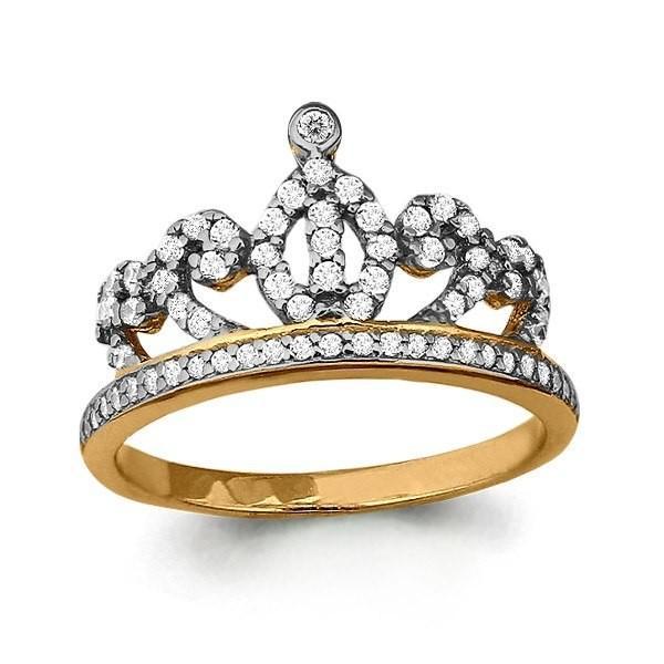Кольцо Корона из золота 585 с фианитами